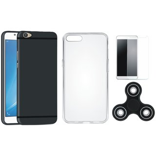 Vivo Y55 Silicon Slim Fit Back Cover with Spinner, Silicon Back Cover, Tempered Glass