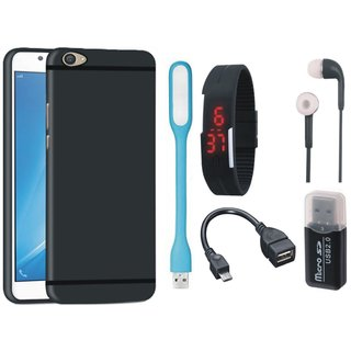 K8 Silicon Slim Fit Back Cover with Memory Card Reader, Digital Watch, Earphones, USB LED Light and OTG Cable
