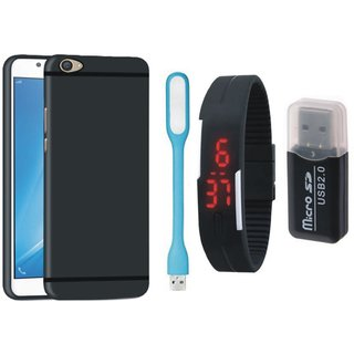 K8 Silicon Slim Fit Back Cover with Memory Card Reader, Digital Watch and USB LED Light