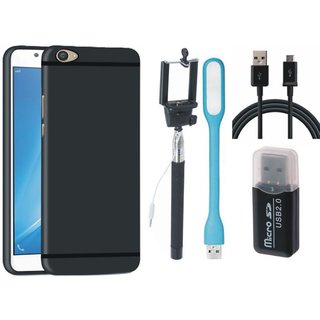 K8 Silicon Anti Slip Back Cover with Memory Card Reader, Selfie Stick, USB LED Light and USB Cable