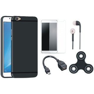 Redmi Y1 Lite Soft Silicon Slim Fit Back Cover with Spinner, Tempered Glass, Earphones and OTG Cable