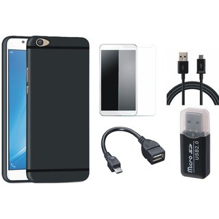 Vivo Y55L Stylish Back Cover with Memory Card Reader, Tempered Glass, OTG Cable and USB Cable