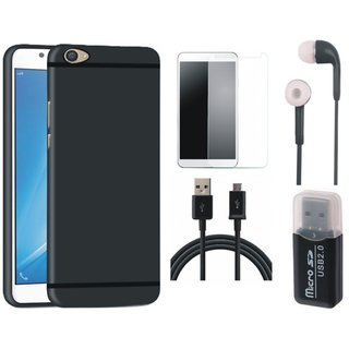 Vivo Y55L Stylish Back Cover with Memory Card Reader, Tempered Glass, Earphones and USB Cable