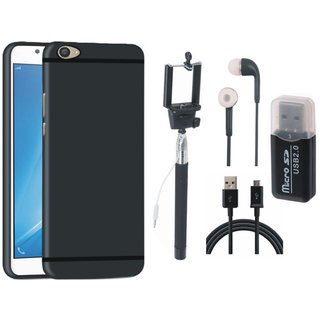 Vivo Y55L Stylish Back Cover with Memory Card Reader, Selfie Stick, Earphones and USB Cable