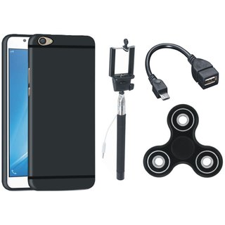 Redmi Y1 Lite Soft Silicon Slim Fit Back Cover with Spinner, Selfie Stick and OTG Cable