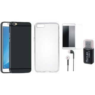 Vivo Y55L Silicon Anti Slip Back Cover with Memory Card Reader, Silicon Back Cover, Tempered Glass and Earphones