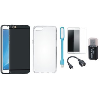 Vivo Y55L Cover with Memory Card Reader, Silicon Back Cover, Tempered Glass, USB LED Light and OTG Cable