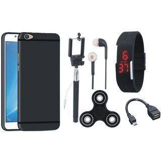 Vivo Y55L Soft Silicon Slim Fit Back Cover with Spinner, Selfie Stick, Digtal Watch, Earphones and OTG Cable