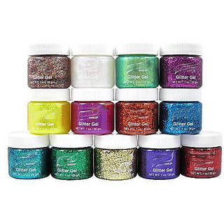 Imported Multi Color 3D Glitter pigment Pack of 12 Pcs