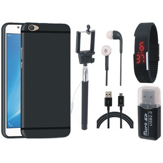 Oppo F3 Soft Silicon Slim Fit Back Cover with Memory Card Reader, Selfie Stick, Digtal Watch, Earphones and USB Cable