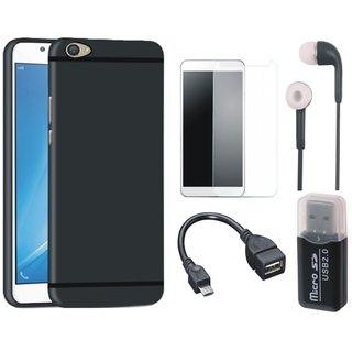 Redmi Y1 Silicon Slim Fit Back Cover with Memory Card Reader, Tempered Glass, Earphones and OTG Cable