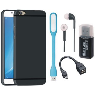 Redmi Y1 Silicon Slim Fit Back Cover with Memory Card Reader, Earphones, USB LED Light and OTG Cable