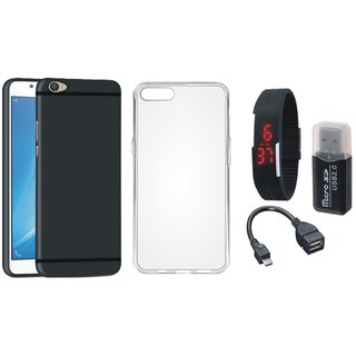 Oppo F3 Premium Quality Cover with Memory Card Reader, Silicon Back Cover, Digital Watch and OTG Cable