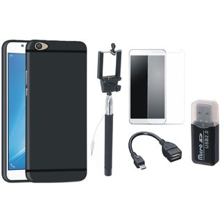 Oppo F3 Silicon Anti Slip Back Cover with Memory Card Reader, Free Selfie Stick, Tempered Glass and OTG Cable