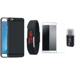 Redmi Y1 Stylish Back Cover with Memory Card Reader, Free Digital LED Watch and Tempered Glass