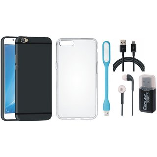 Oppo F3 Silicon Anti Slip Back Cover with Memory Card Reader, Silicon Back Cover, Earphones, USB LED Light and USB Cable