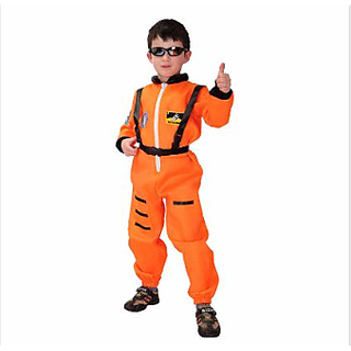 Astronaut Orange Colour Costume For Kids