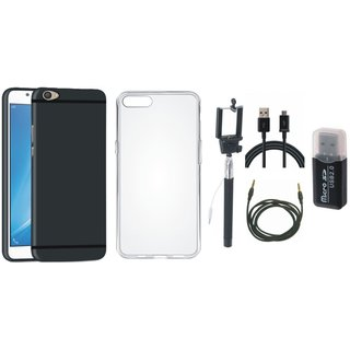 Oppo F3 Cover with Memory Card Reader, Silicon Back Cover, Selfie Stick, USB Cable and AUX Cable