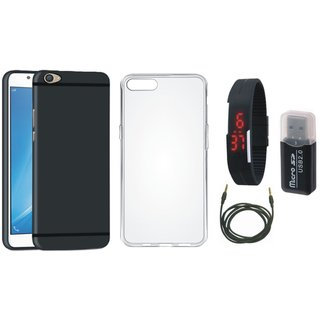 Oppo F3 Cover with Memory Card Reader, Silicon Back Cover, Digital Watch and AUX Cable