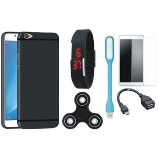 Motorola Moto C Soft Silicon Slim Fit Back Cover with Free Spinner, Digital LED Watch, Tempered Glass, LED Light and OTG Cable