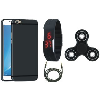 Motorola Moto C Silicon Slim Fit Back Cover with Spinner, Digital Watch and AUX Cable