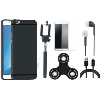 Motorola Moto C Silicon Slim Fit Back Cover with Free Spinner, Selfie Stick, Tempered Glass, Earphones and USB Cable