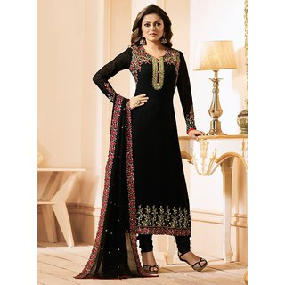Salwar Soul Women's Drashti Dhami Designer Black Color Embroidered Work Straight Georgette Semi-Stitched Salwar Suit