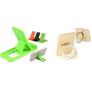 Combo of Small Stand and Mobile Ring Holder (Assorted Colors)