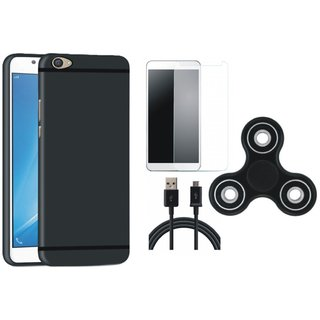 Motorola Moto C Stylish Back Cover with Spinner, Tempered Glass and USB Cable