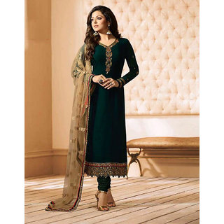 Salwar Soul Women's Drashti Dhami Designer Green Color Embroidered Work Straight Salwar Suit
