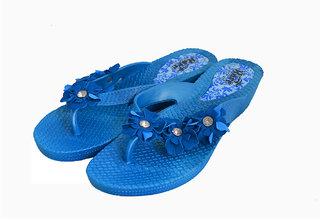 Czar Flip Flops Slipper for Women Blue Flower
