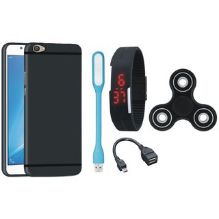 Motorola Moto C Premium Back Cover with Spinner, Digital Watch, OTG Cable and USB LED Light