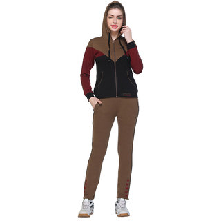 EX10SIVE BLACK and BROWN Cotton Blend Fleece Long Sleeve Tracksuit for Women