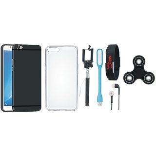 Motorola Moto C Back Cover with Spinner, Silicon Back Cover, Selfie Stick, Digtal Watch, Earphones and USB LED Light