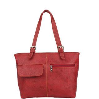 Aliado Faux Leather Solid Red Zipper Closure Formal Handbag