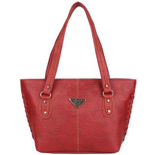 Aliado Faux Leather Maroon Zipper Closure Croc Pattern Formal Tote Bag