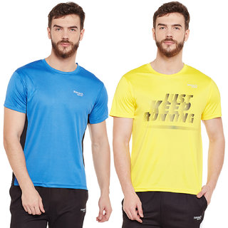 Masch Sports Mens Polyester Colourblocked & Printed T-Shirts - Pack of 2