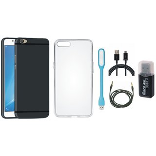 Vivo Y55s Silicon Slim Fit Back Cover with Memory Card Reader, Silicon Back Cover, USB LED Light, USB Cable and AUX Cable