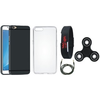 Oppo F3 Silicon Anti Slip Back Cover with Spinner, Silicon Back Cover, Digital Watch and AUX Cable