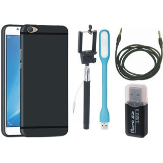Lenovo K8 Soft Silicon Slim Fit Back Cover with Memory Card Reader, Selfie Stick, USB LED Light and AUX Cable