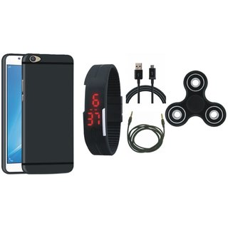 Lenovo K8 Note Silicon Slim Fit Back Cover with Spinner, Digital Watch, USB Cable and AUX Cable