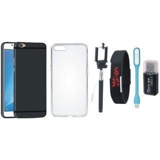 K6 Note Stylish Back Cover with Memory Card Reader, Silicon Back Cover, Selfie Stick, Digtal Watch and USB LED Light