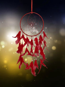 ILU Dreamcatcher Wall Hanging Handmade Beaded Circular Net Decoration Ornament Size 16 CM Diameter Red