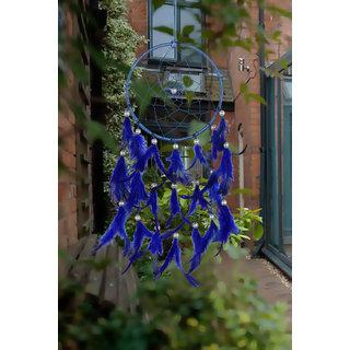ILU Dreamcatcher Wall Hanging Handmade Beaded Circular Net Decoration Ornament Size 16 CM Diameter Blue