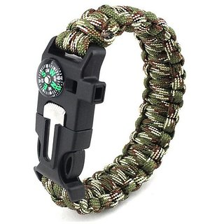 Paracord Survival Bracelet with Whistle and Compass  Multi Green