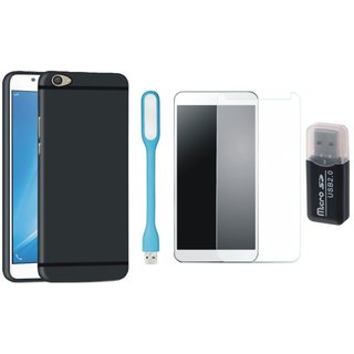Lenovo K8 Silicon Slim Fit Back Cover with Memory Card Reader, Tempered Glas and USB LED Light