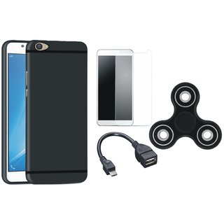Lenovo K8 Note Silicon Anti Slip Back Cover with Spinner, Tempered Glass and OTG Cable