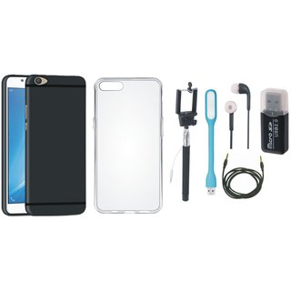 Vivo Y55s Back Cover with Memory Card Reader, Silicon Back Cover, Selfie Stick, Earphones, USB LED Light and AUX Cable