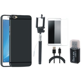 Vivo Y55s Back Cover with Memory Card Reader, Free Selfie Stick, Tempered Glass and USB Cable