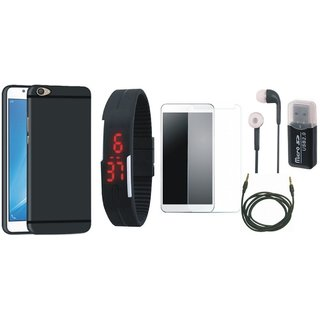Lenovo K8 Stylish Back Cover with Memory Card Reader, Free Digital LED Watch, Tempered Glass, Earphones and AUX Cable